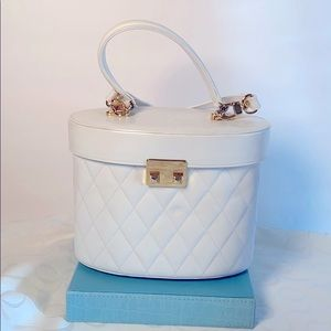White Quilted Leather Purse